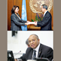 Images: U.N. ambassadors Byrganym Aitimova, top photo with Secretary-General Ban Ki-moon, and Jean-Francis R�gis Zinsou
