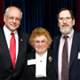 Image:Interim President Sheldon Drucker with Professor Gloria Reinish and Lab Supervisor Peter Schaffer